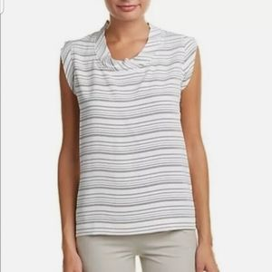 Cabi womans white and black Madeleine top blouse
